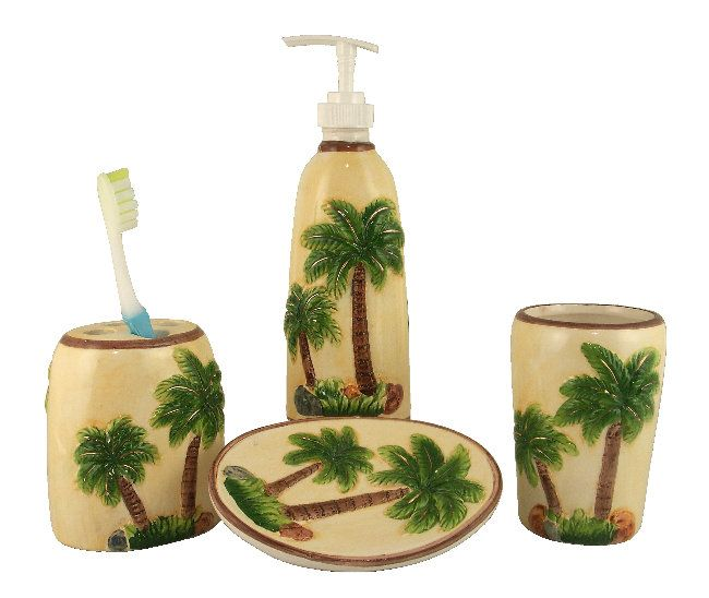 Hibiscus+Kitchen+Accessories | TROPICAL PALM TREE BATHROOM SET 4 PC  ACCESSORIES