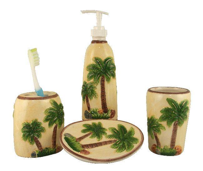 Hibiscus+Kitchen+Accessories | TROPICAL PALM TREE BATHROOM SET 4 PC  ACCESSORIES
