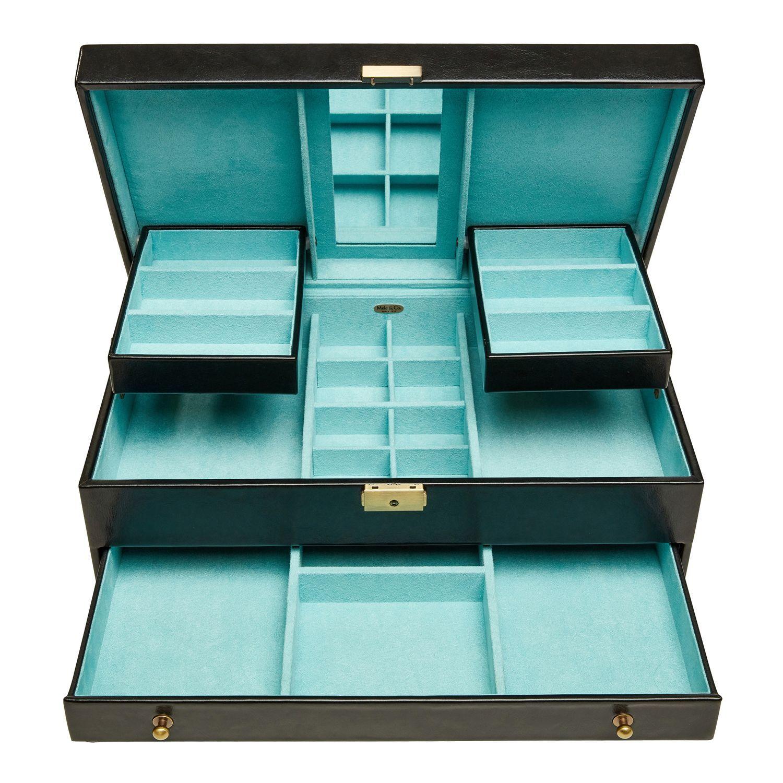 Lana Black Faux Leather Locking Jewelry Box   Pier 1 ...