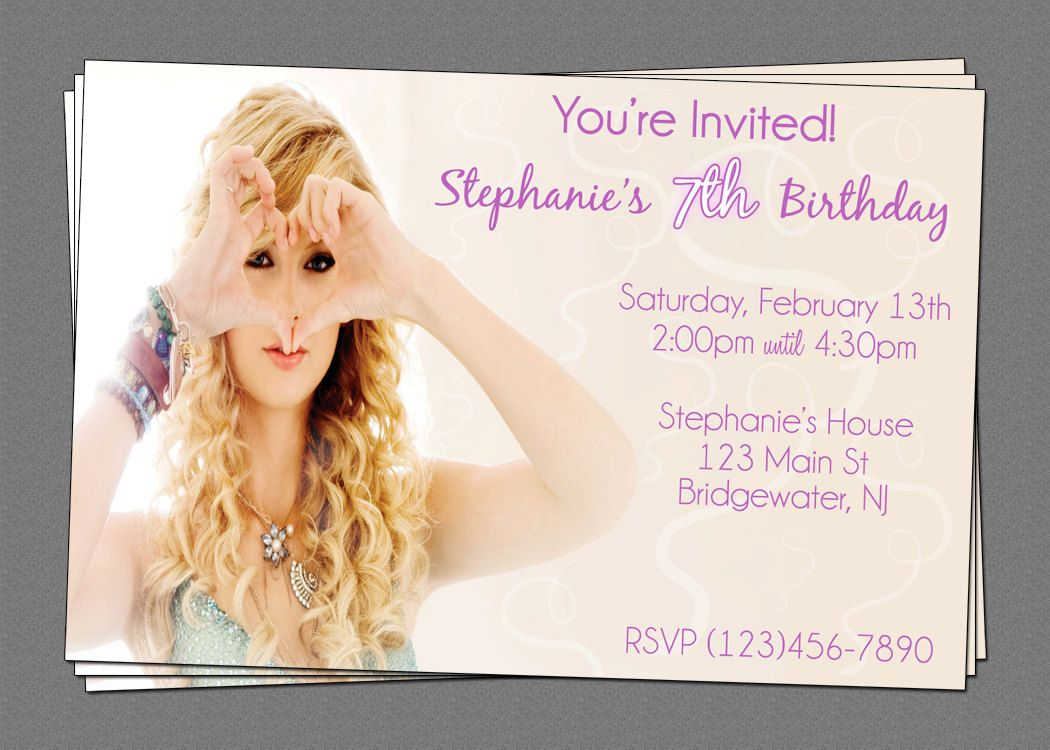 Custom Taylor Swift Birthday Party Invitations DIY Printable File