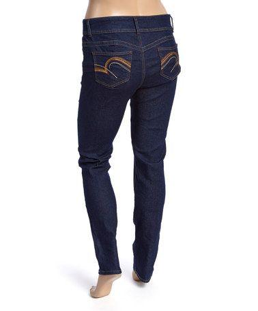 Dark Indigo Embroidered Skinny Jeans- Plus #zulily #zulilyfinds