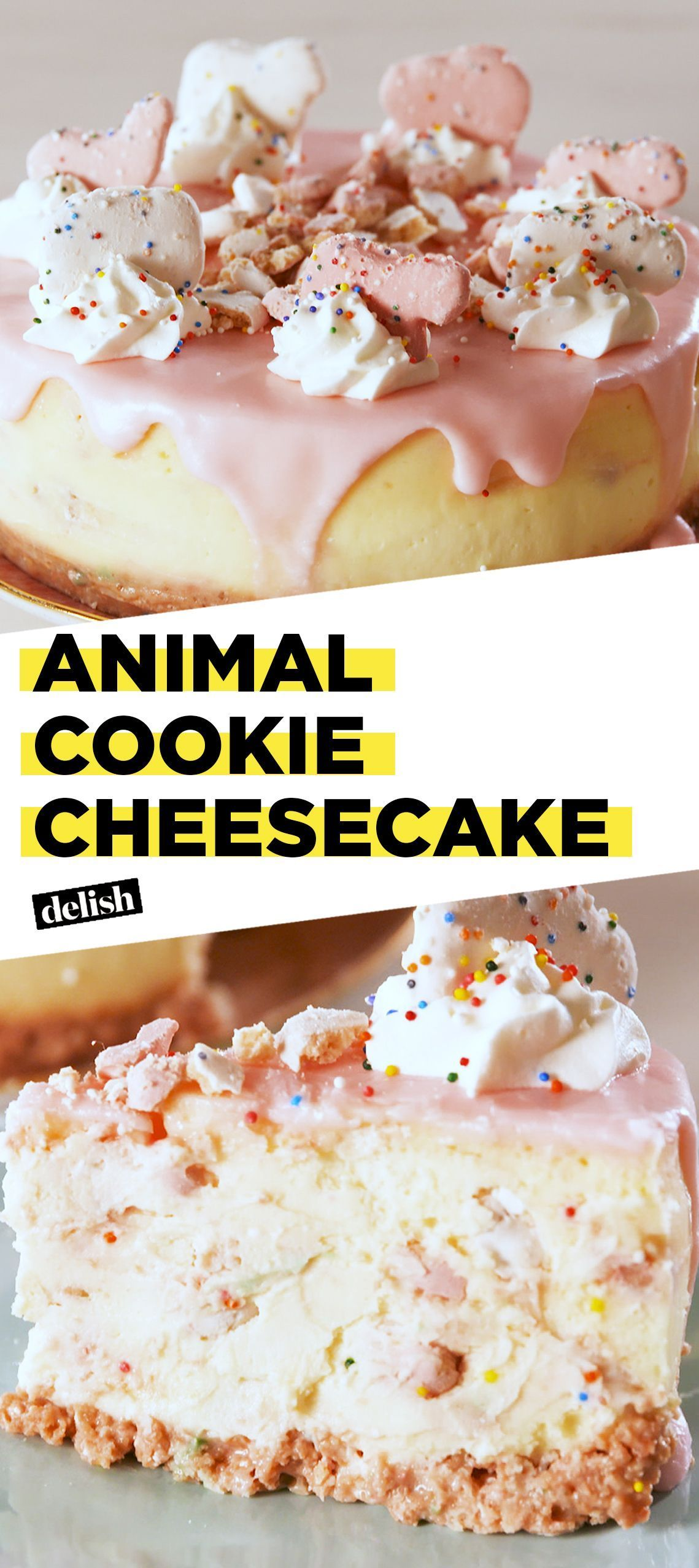 This Frosted Animal Cookie Cheesecake is like your childhood — only BETTER. Get the recipe at . Frosted Animal Cookie Cheesecake is like your childhood — only BETTER. Get the recipe at .