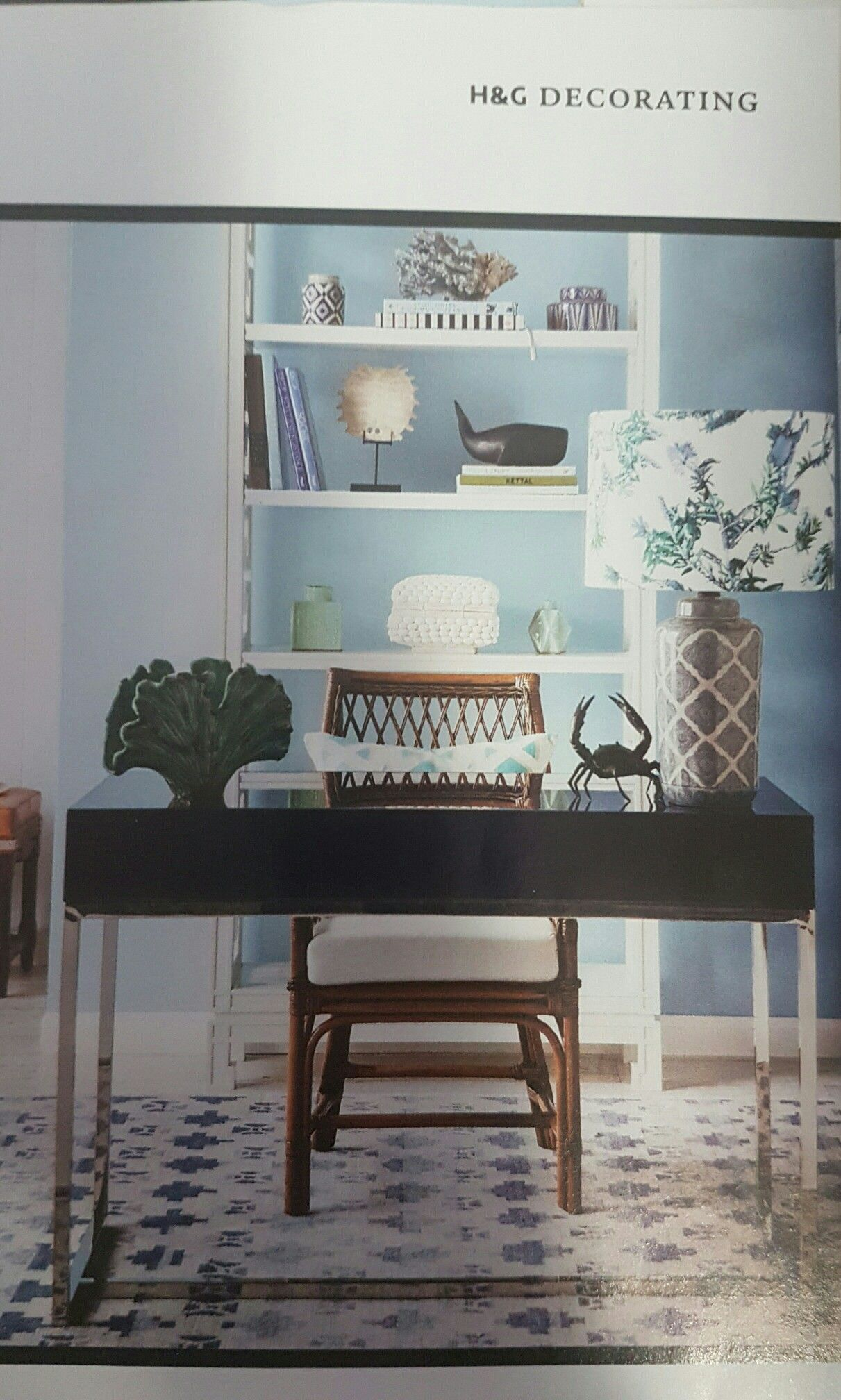 Contemporary Desk With Coastal Decor And Neutral Tone Office Chair