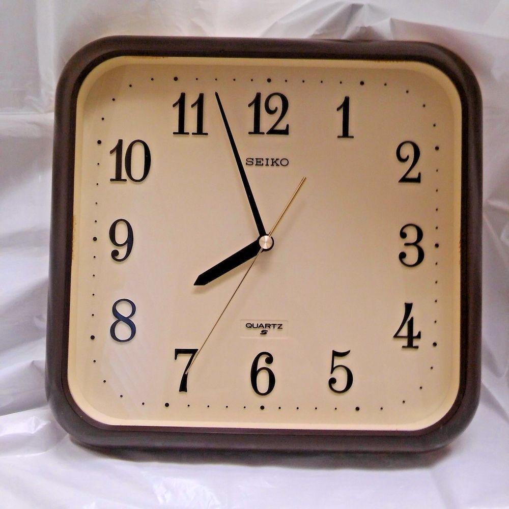 Seiko Quartz Vintage Square Plastic Brown Beige Wall Clock