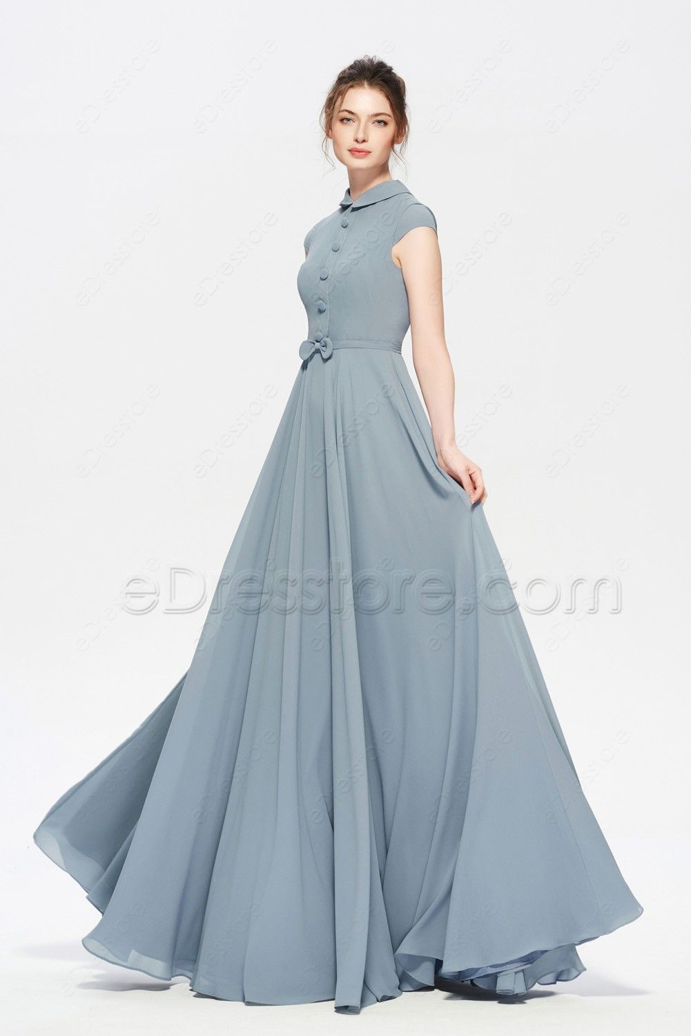 0072d0720a5 Modest Dusty Blue Bridesmaid Dress Cap Sleeves in 2019