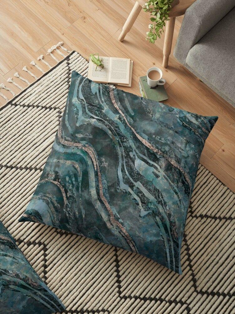 Elegant Dark Teal Turquoise Marble Mineral Rock With Metallic Texture Fragments Home Decor Marble Pillow Cushio Stylish Throw Pillows Pillows Marble Pillow
