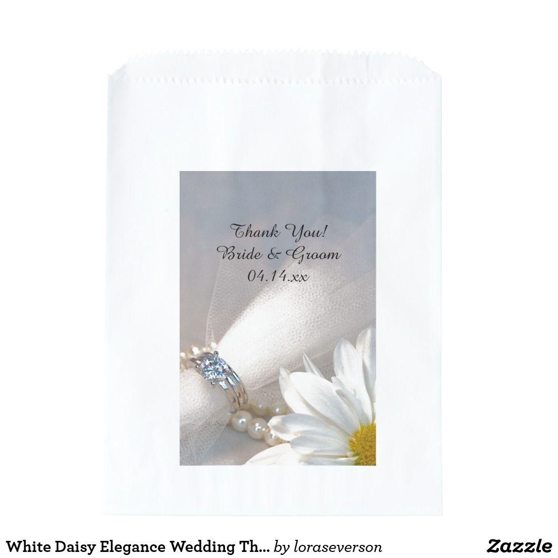 White Daisy Elegance Wedding Thank You Favor Bag   Favor bags ...