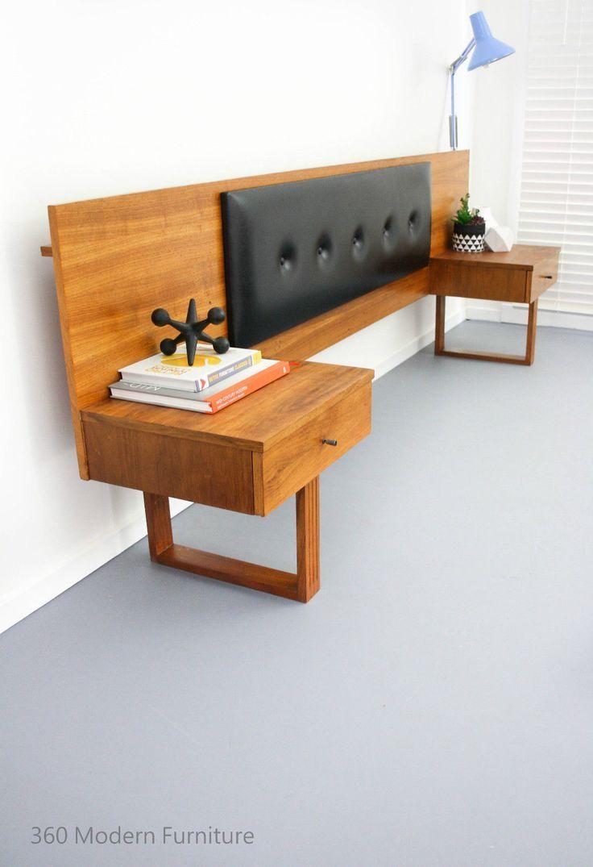 Mid Century Teak Bedside Tables Drawers Bedhead Retro Vintage ...