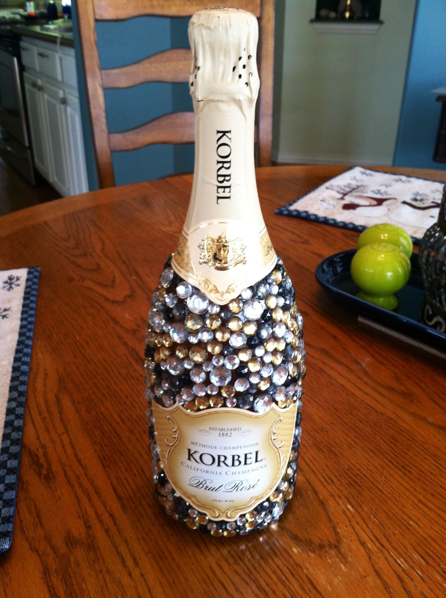 Bedazzled Champagne Bottle For 21st Birthday Diy