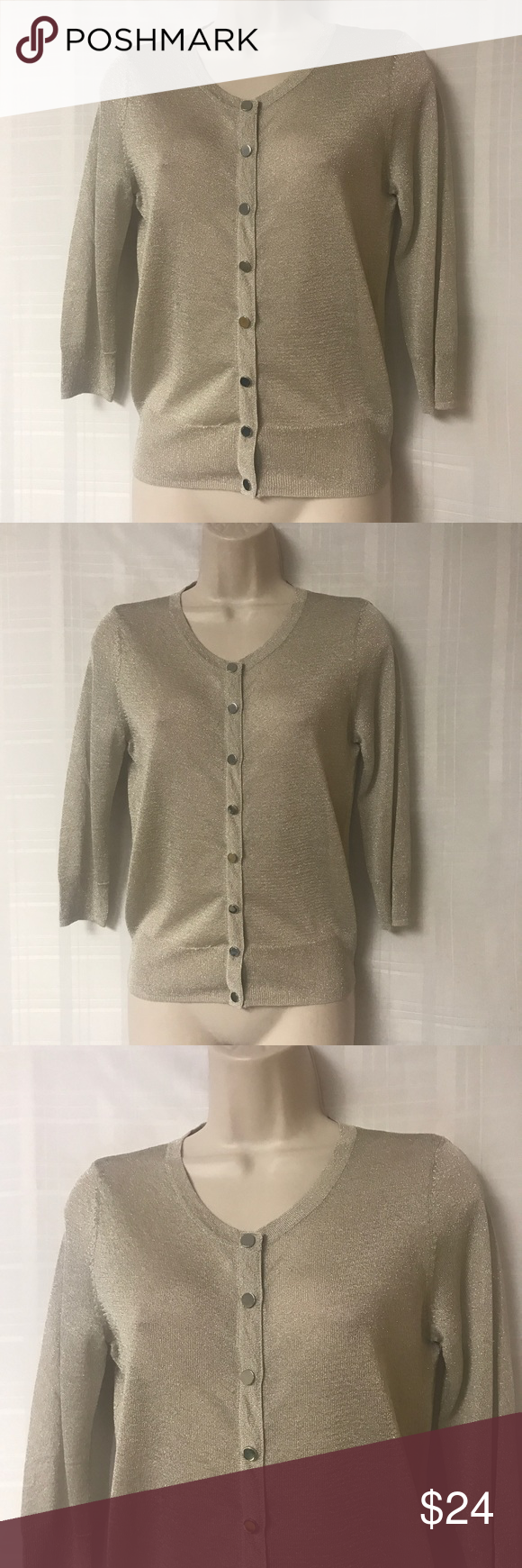 White House Black Market Gold Cardigan Size XS | Gold cardigan ...