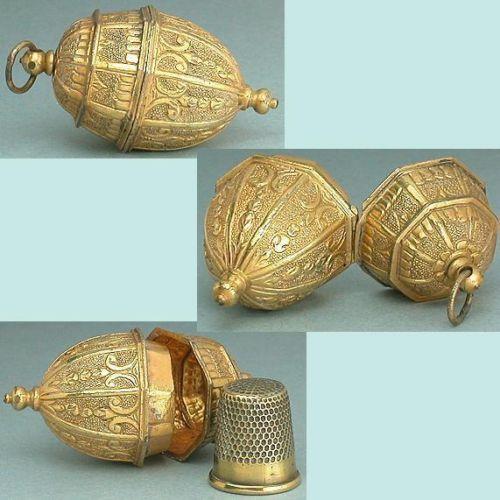 Antique Gilded Pinchbeck Chatelaine Thimble Holder Circa 1750 | eBay