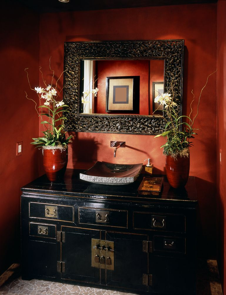 Red And Black Half-bath With Dark Vanity And Basin With Deep Red