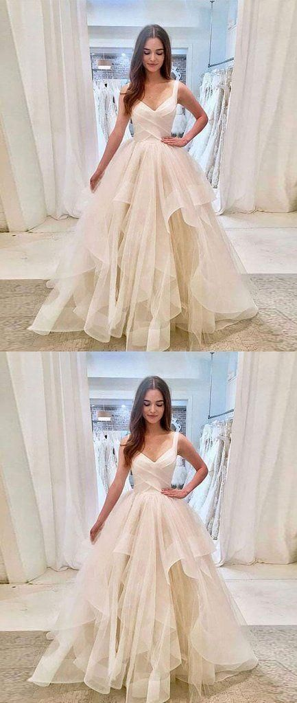 Prom Dresses Simple, SIMPLE LIGHT CHAMPAGNE TULLE LONG PROM DRESS, TULLE EVENING DRESS - White evening dress, Cute prom dresses, Tulle evening dress, Beauty dress, White dress party, Tulle prom dress - Prom Dresses Simple, SIMPLE LIGHT CHAMPAGNE TULLE LONG PROM DRESS, TULLE EVENING DRESS, A long dress makes an elegant statement at any formal event whether it is prom, a formal dance, or wedding