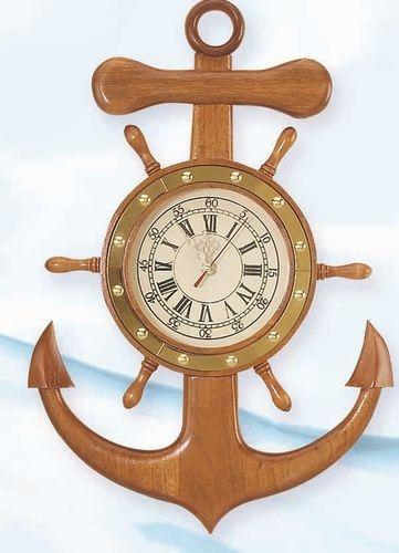 Marvelous Anchor And Ship Wheel Nautical Wall Clock Nice Design