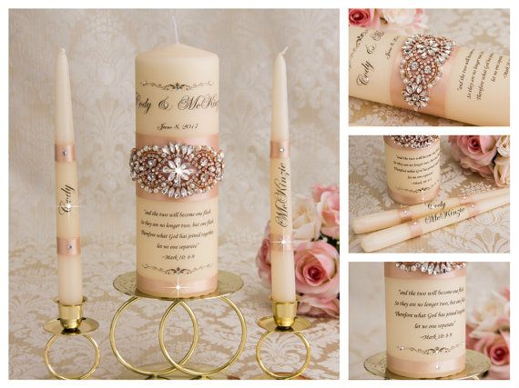 Personalized Gold Silver Rose gold Wedding Candle Gold Unity candle set Monogram candle