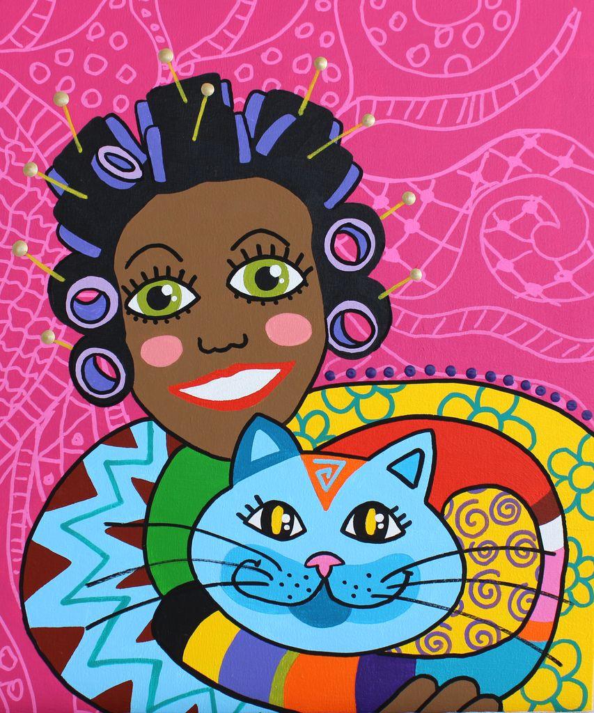 Dushi Met Kat Tropische Kunst Afrikaanse Kunst Kinderschilderij