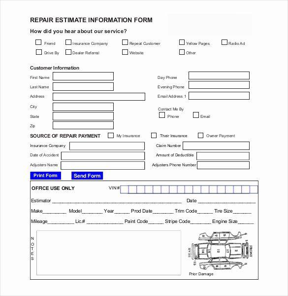 Computer Repair Forms Templates Luxury 20 Repair Estimate Templates Word Excel Pdf Auto Repair Estimates Estimate Template Repair