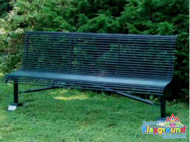 Surprising Heavy Duty Armless Park Bench With Rolled Seat Back Made Of Customarchery Wood Chair Design Ideas Customarcherynet
