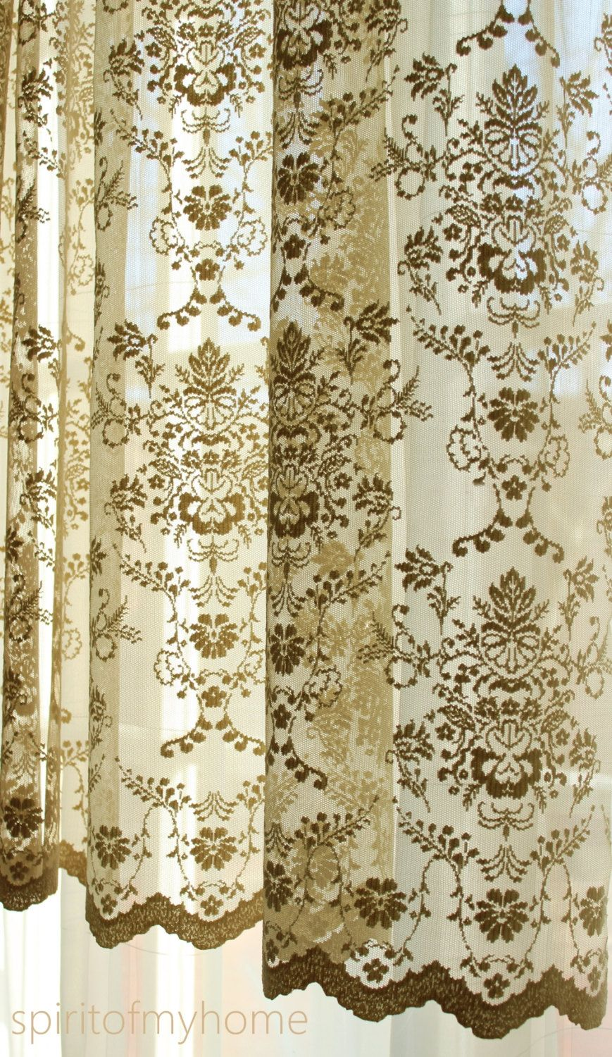 French Lace Curtains CÉline Mustard Brown Color Continuous Lace Sheers Full Lenght