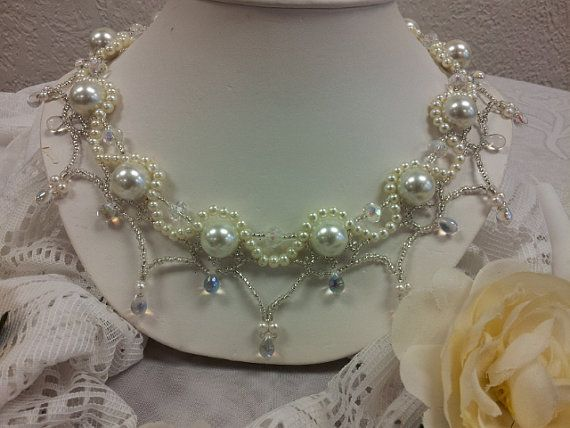 Beaded collar necklace for a wedding by anghcim on Etsy