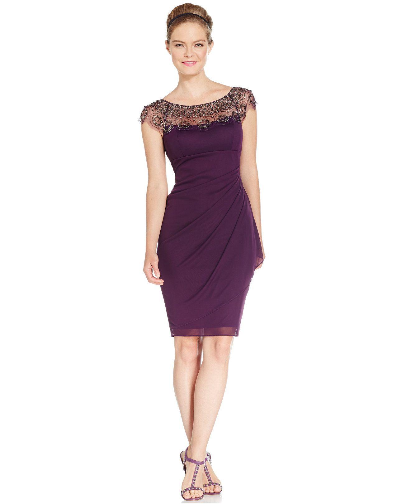 Xscape Cap-Sleeve Illusion Beaded Dress - Dresses - Women - Macy\'s ...