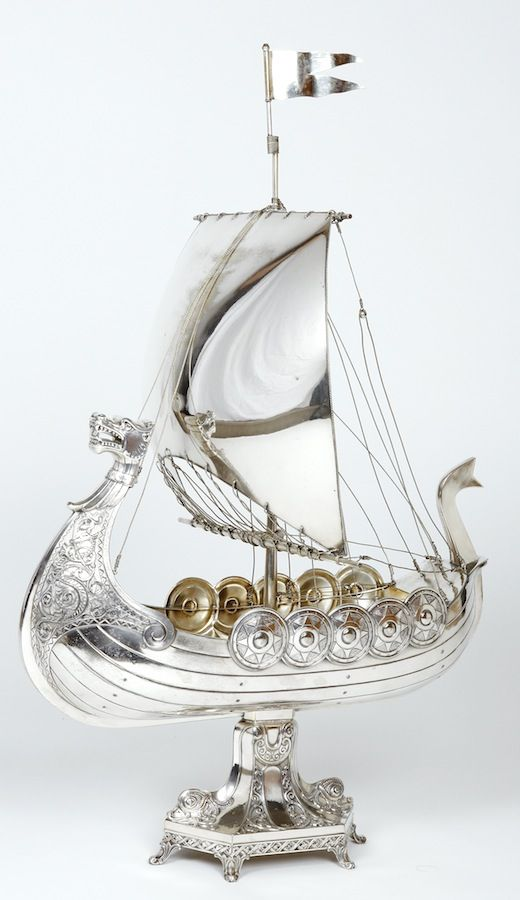WMF Viking Ship Centerpiece, c. 1890, silver-plated Britannia metal, 69cm H.  |  SOLD Hammer Price $2,820 Germany, 2010