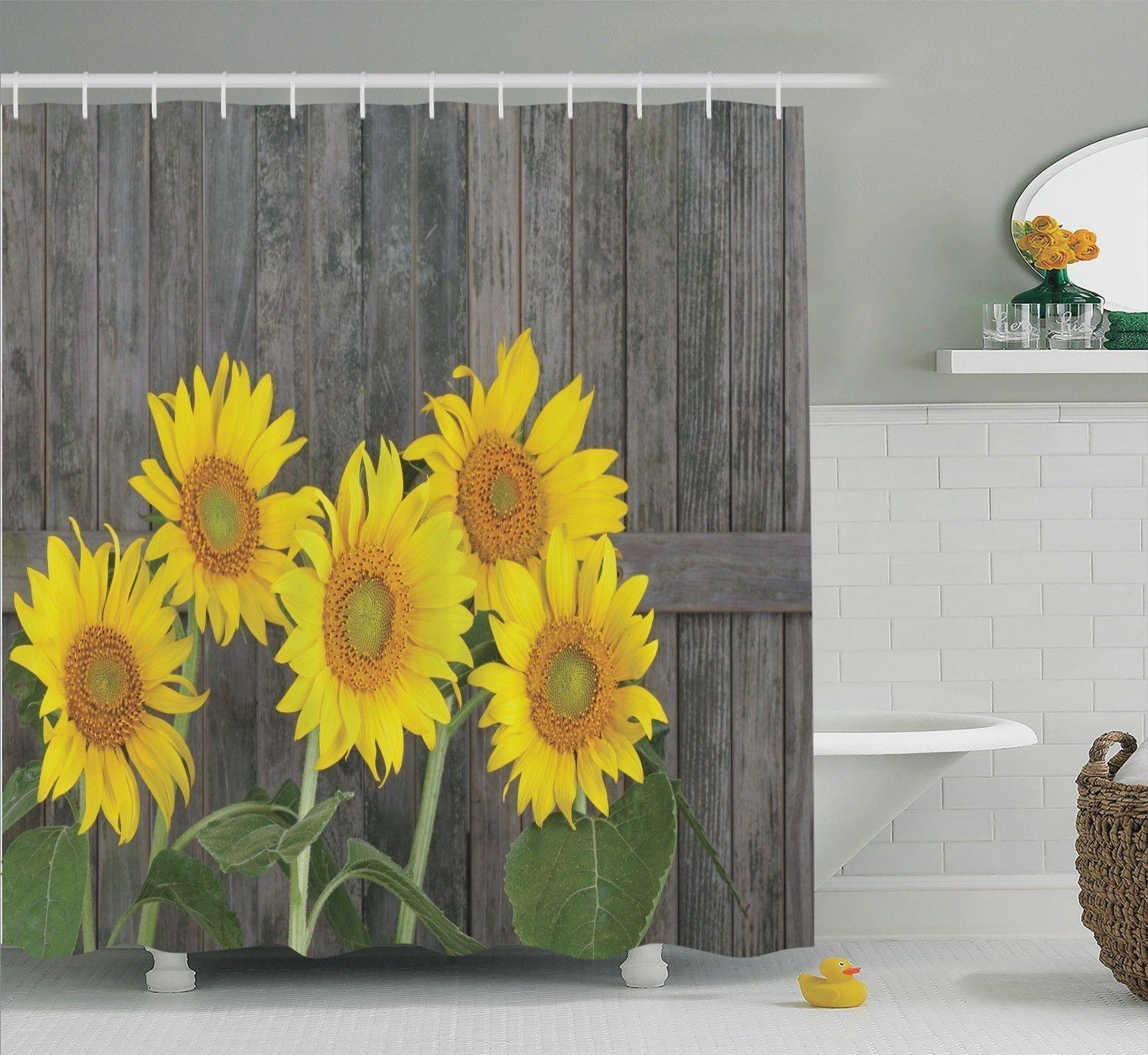 Home Sunflower Decor Shower Curtain Sets Luxury Towels