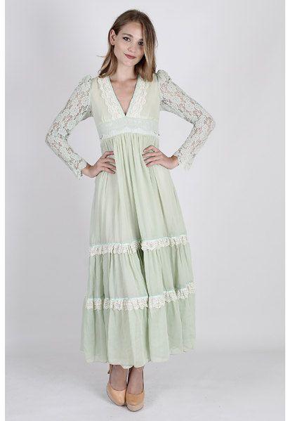 b5fd34a3d8724 vintage 70s Green Gunne Sax Dress Floral Lace by americanarchive ...