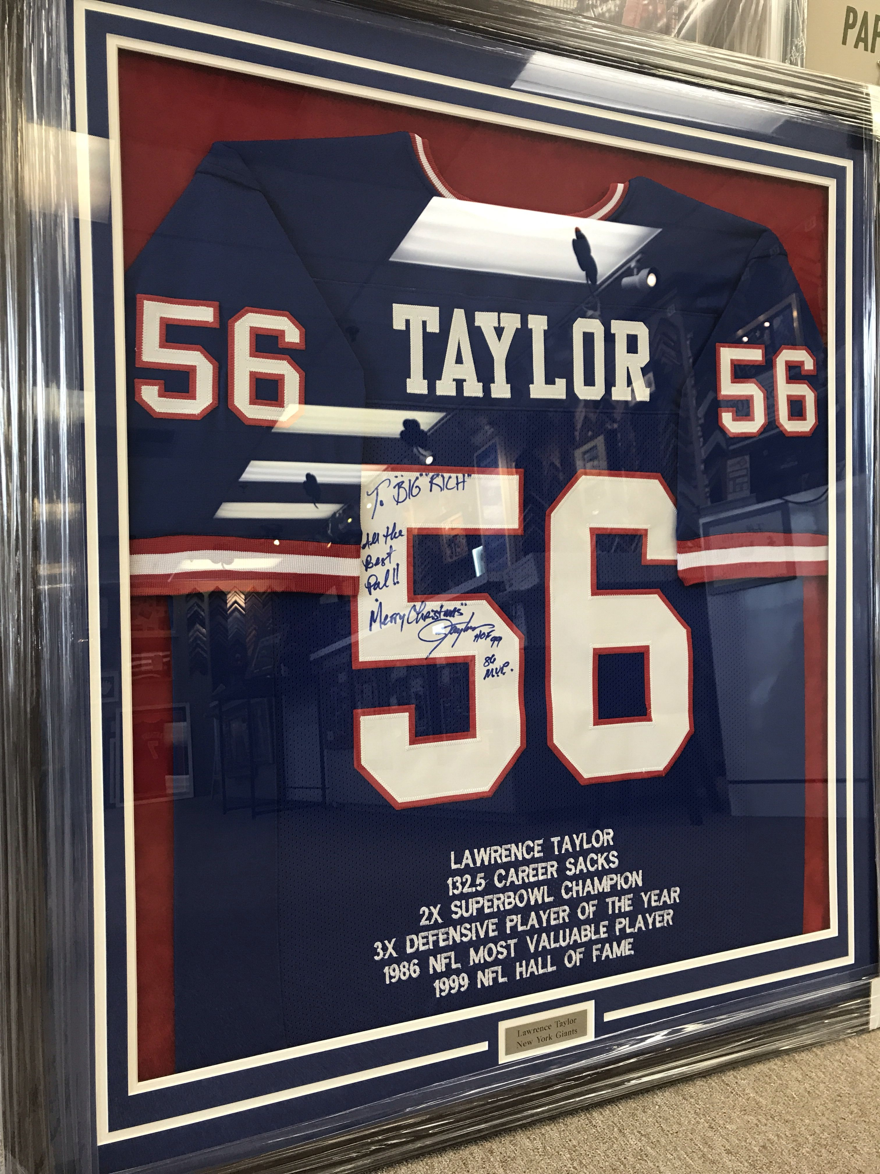 Ny Giants Lawrence Taylor Football Jersey Custom Framed And Designed By My Framing Store Inc In Edison Framed Jersey Football Jersey Frame Lawrence Taylor