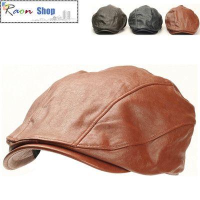 Casual Style Newsboy Flat Cap Brown Leather Fashion Gatsby hat Diver Visor  Golf  1f274b57d174