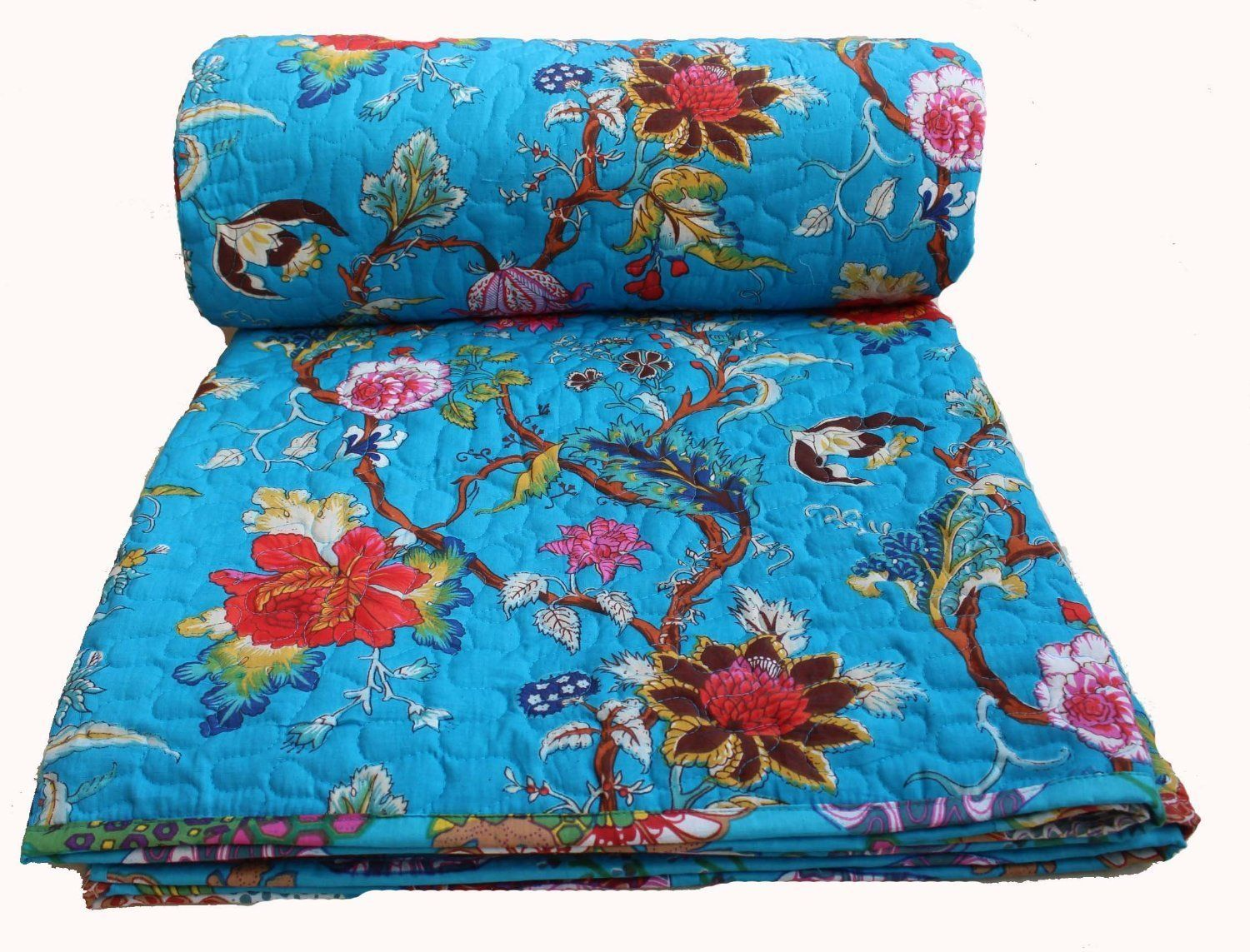 Bed cover in bedding ebay - Details About Winter Quilts Floral Print Comforter Floral Cotton Blanket Turquoise Bedding Bed Coversturquoise