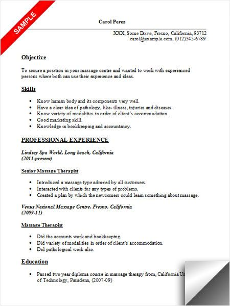 Massage Therapist Resume Sample Resume Examples Pinterest - Massage Therapist Resume Objective