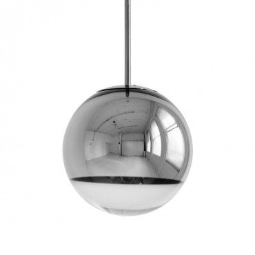 Tom Dixon Mirror Ball Pendant A polycarbonate sphere is finished with a metallic interior to create a mirrored effect.  Suspended from a thin clear cable, the pendant projects a broad beam of light when illuminated