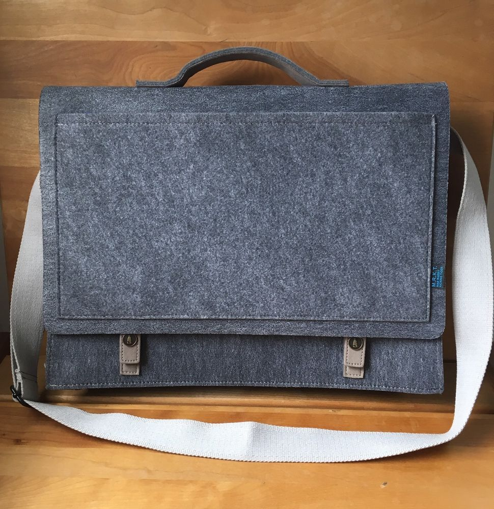 Mad Rabbit Kicking Tiger Mateo Briefcase Gray Felt Laptop Messenger Bag  M.R.K.T.  8c9a95b4b571a