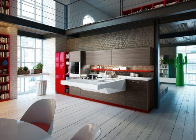 moderne küchenausführung wandgestaltung backstein schränke in, Innenarchitektur ideen