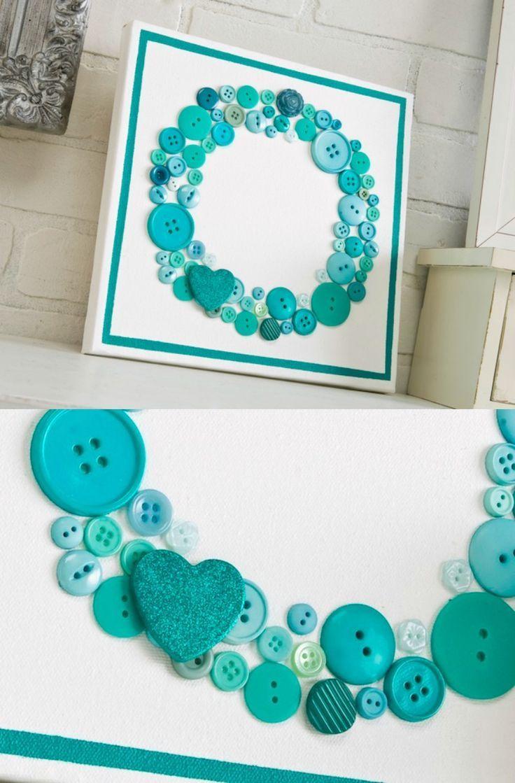 Make Aqua Button Canvas Wall Art - Mod Podge Rocks