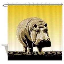 Happy Hippo Hippopotamus Shower Curtain By Teeblrrich