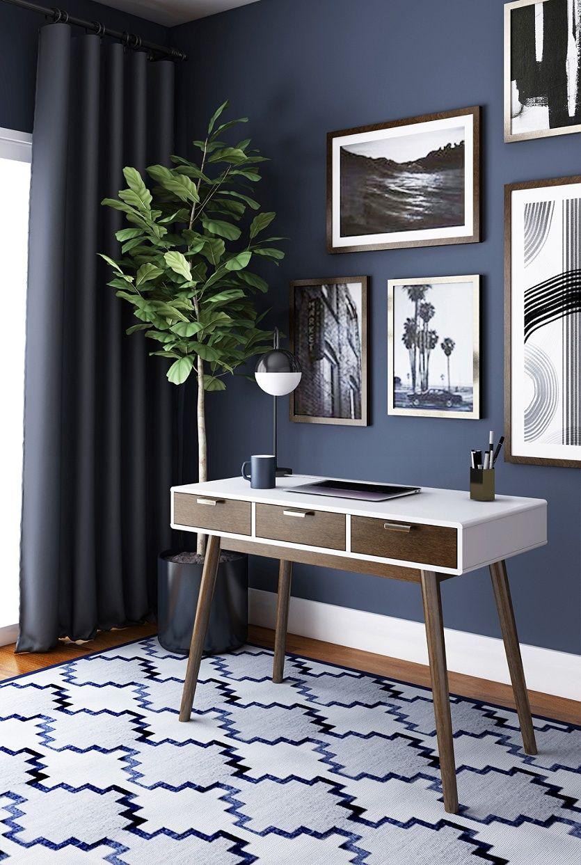Elle D Cor Stara Mid Century Modern Desk Whitebrown By Office Depot Officemax Mid Century Modern Desk Modern Desk Decor Home Office Design