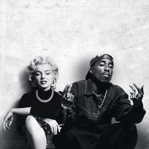 RAPPER 2Pac Tupac Shakur Marilyn MONROE /& Hip Hop legend BLACK T-Shirts