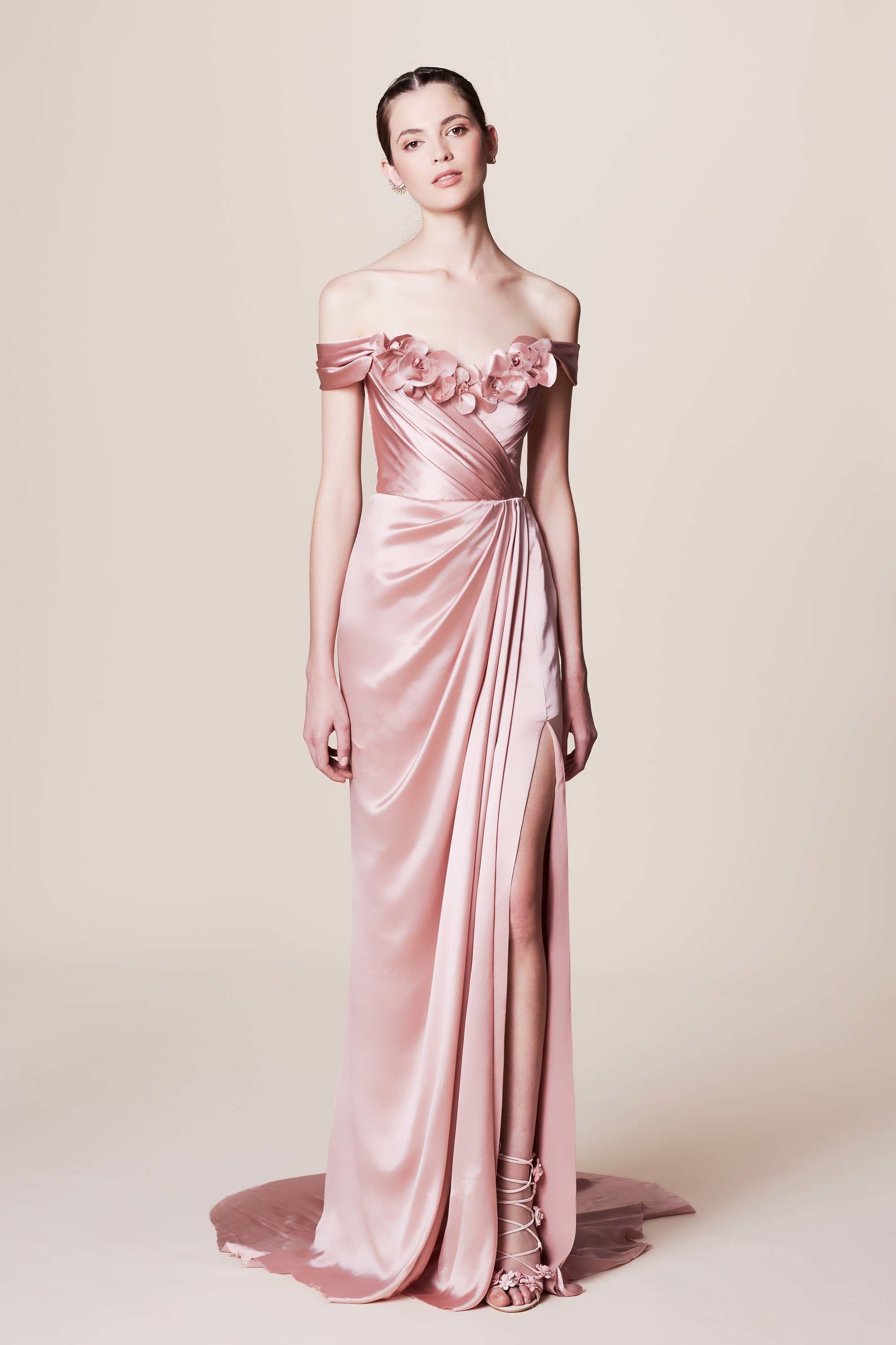 Pretty Off The Shoulder Satin Evening Gown In Pastel Pink