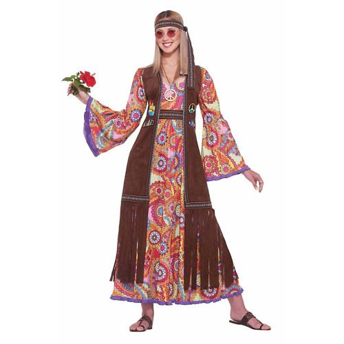 Peace and Love! The Women's Hippie Love Child Costume includes a long dress with flare sleeves and psychedelic flower pattern. A long vest with fringes and peace signs and a matching headband are also included. Start your own peace protest when you wear this great 70's costume. Become one with nature and life and rebel against war. Perfect for Halloween or a 70's themed party this costume will make you a fashionable hippie. The Hippie Love Child Costume is like totally far out.
