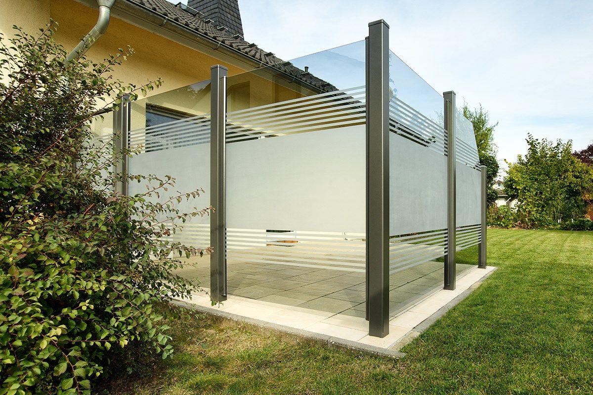 Uri Zaunzar Glaszaun Sichtschutz Terrasse Glas Moderner Patio