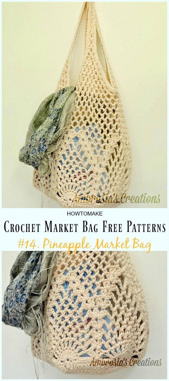 Crochet Market Bag Free Patterns | Artesanato | Pinterest | Bolsa de ...
