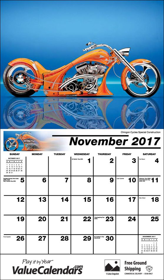 2017 motorcycle mania calendar personalized staple bound drop ad