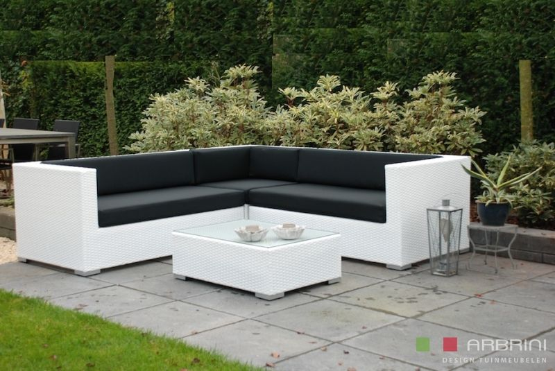 Loungeset lounche set tuin terras wit wicker aanbieding zahrdní