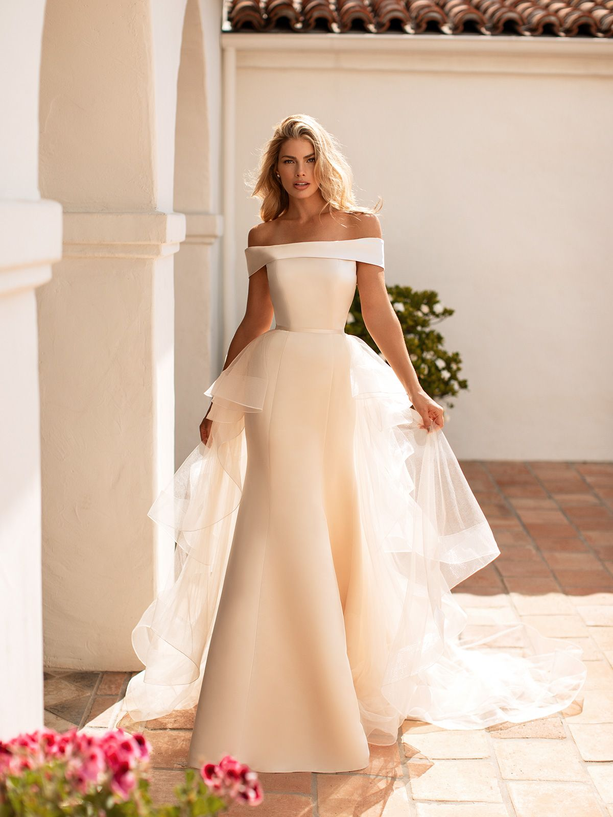 Convertible Satin Fold Over Mermaid Wedding Dress Moonlight Collection J6771 Satin Mermaid Wedding Dress Detachable Train Wedding Dress Boho Wedding Dress [ 1600 x 1200 Pixel ]