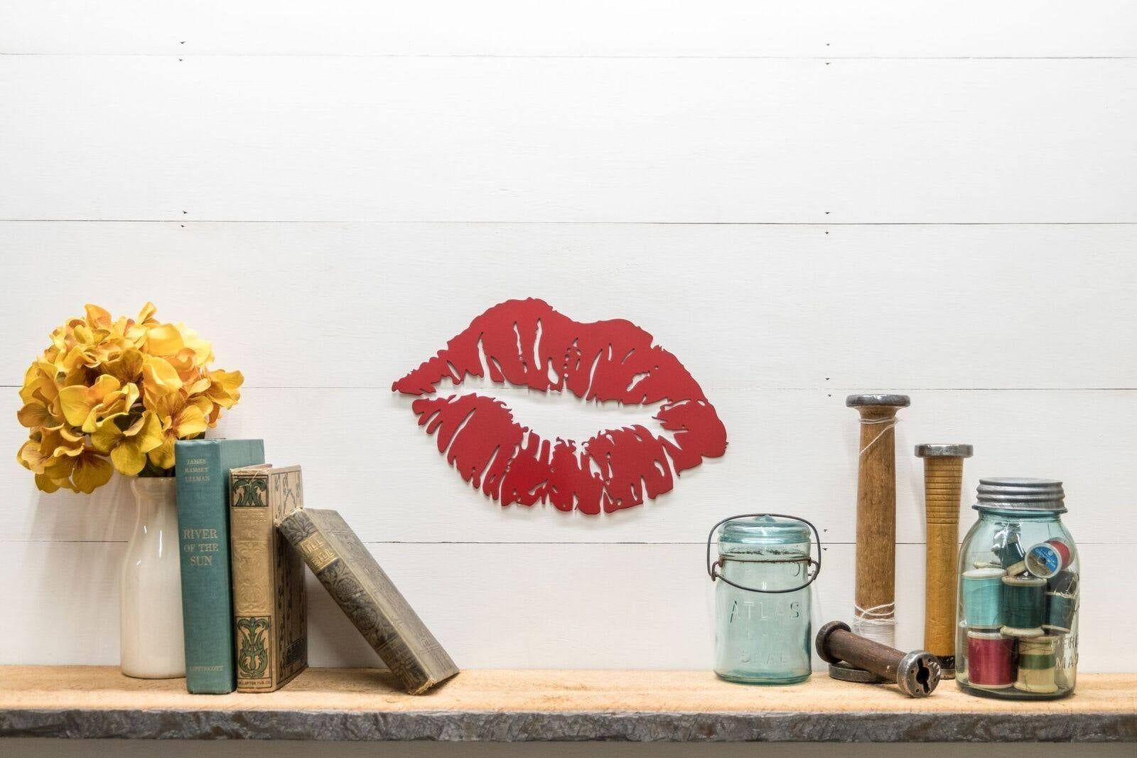 Red Metal Kiss Lips Wall Decor #RedKissLips #WeddingGiftIdeas #RedMetalKissLips #LoveDecor #BoutiqueDecor #RedLipstick #WallHangingDecor #LipstickMark #GirlNurseryDecor #VanityDecor