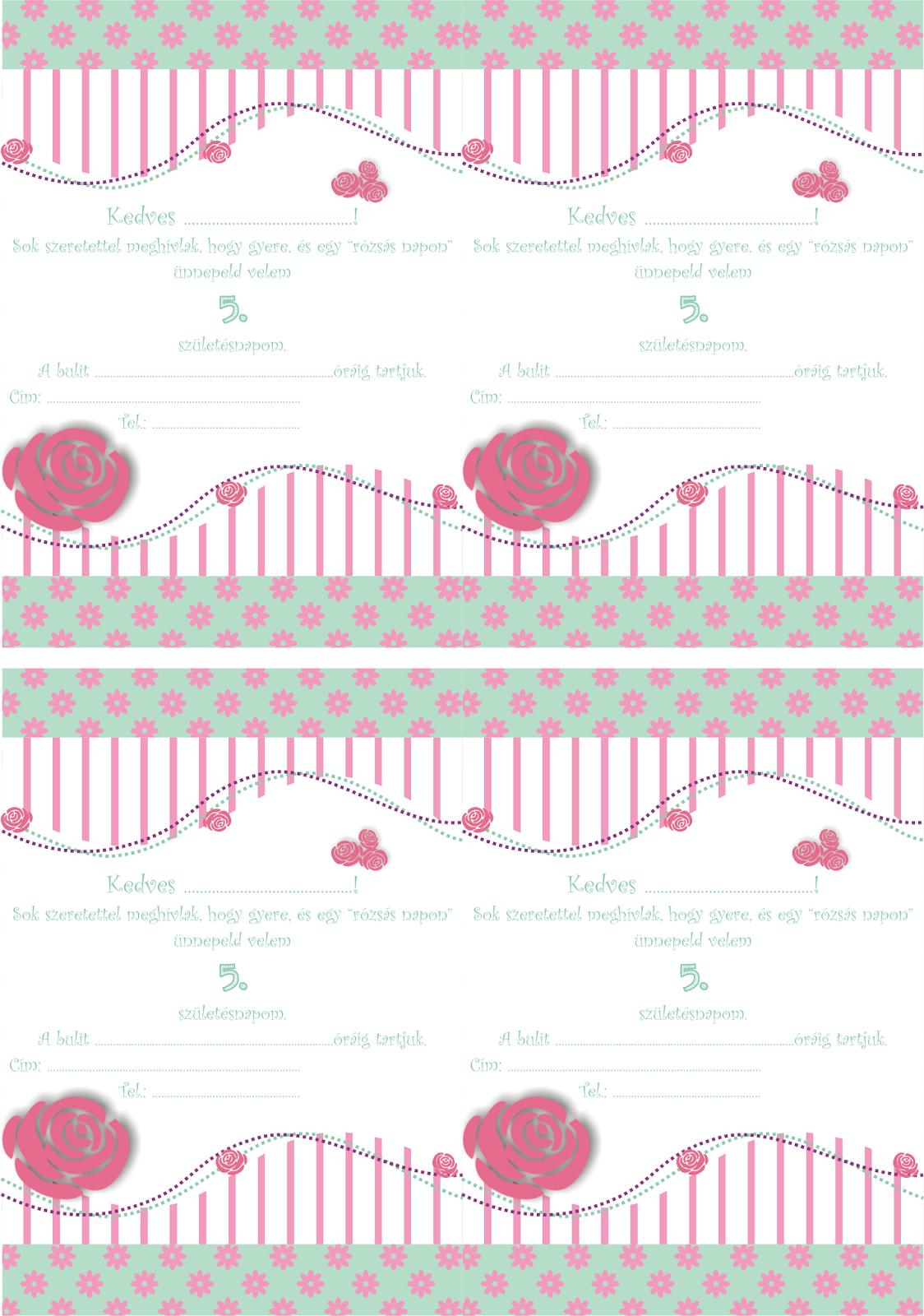 szülinapi ecard Baga Kreatív oldala: Rózsás szülinapi meghívó   Ingyen letölthető  szülinapi ecard