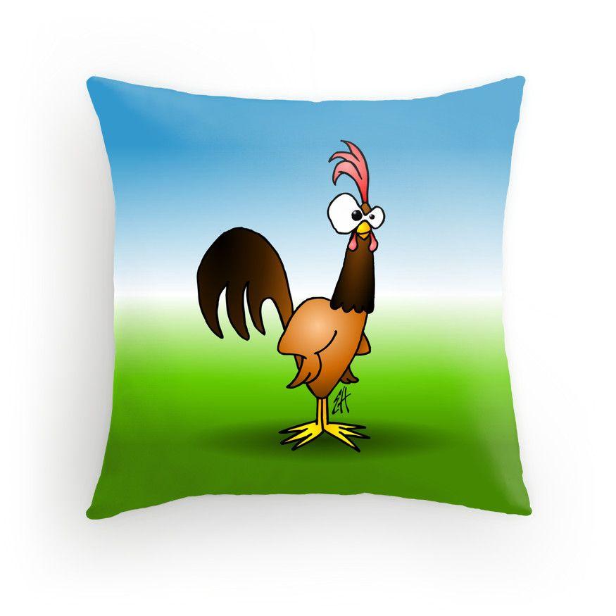 Rooster throw pillow. #Redbubble #Cardvibes #Tekenaartje