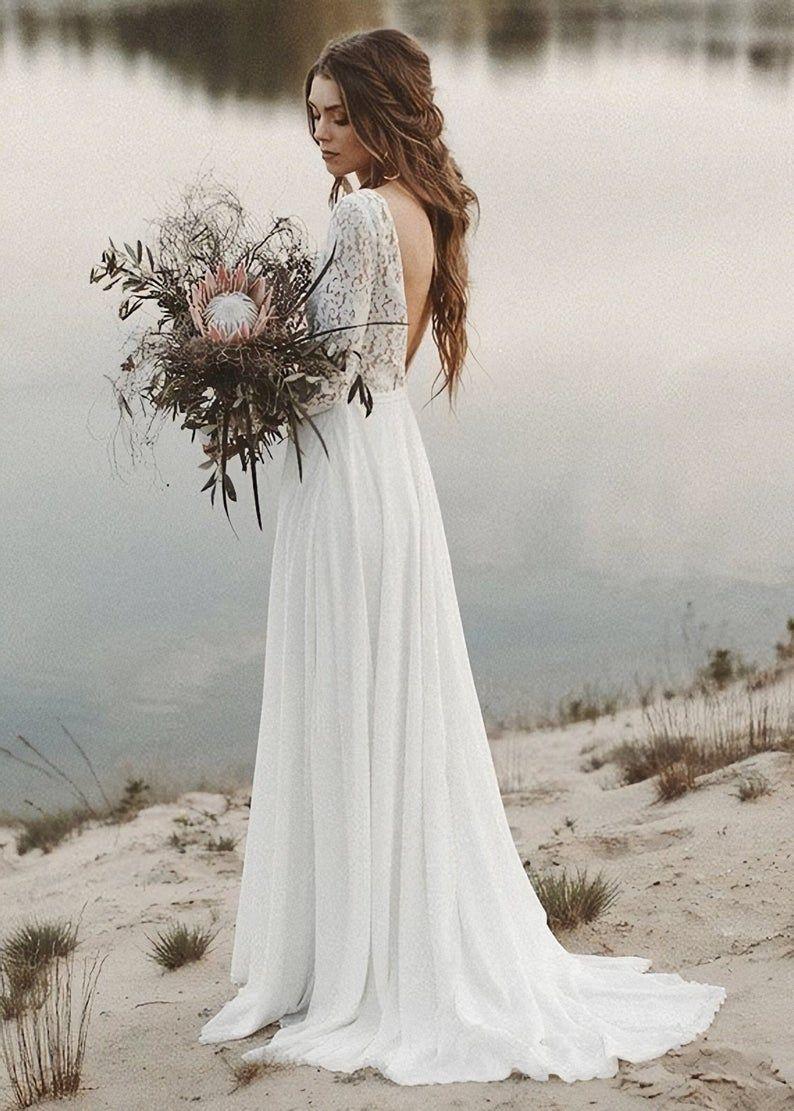 Simple Boho Wedding Dress Vintage Long Sleeve Bridal Gown Bohemian A Line Wedding Dress In 2020 Wedding Dresses Lace V Neck Wedding Dress Wedding Dress Long Sleeve [ 1111 x 794 Pixel ]
